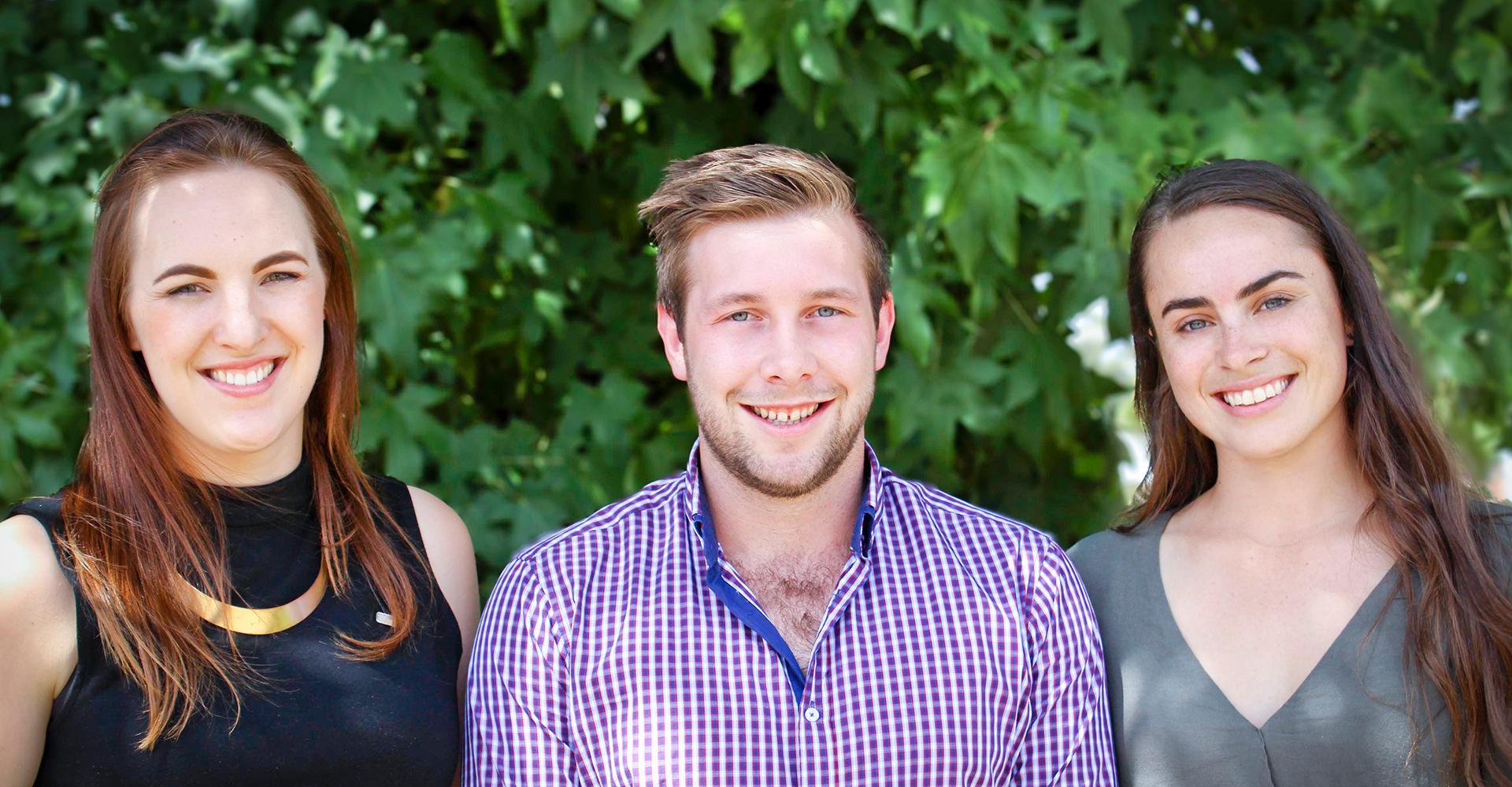 3 young rural leader university scholarship recipients.
